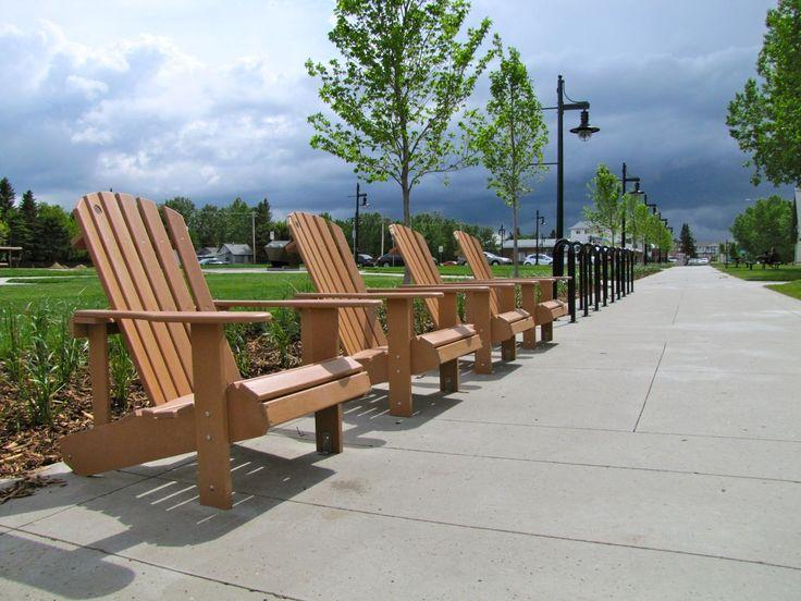 #Adirondack #Chairs and Wishbone #Surf #Bike #Racks in Sylvan Lake, Alberta #madeincanada #streetfurniture #design