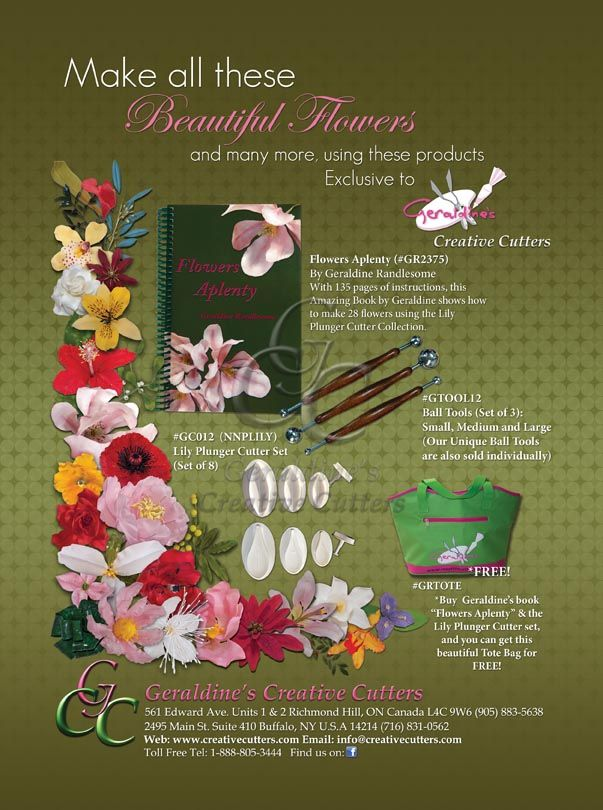 Make beautiful flowers with GR2375 - Flowers Aplenty By Geraldine Randlesome. With 135 pages of instructions, this amazing book shows how to make 28 delicate flowers. Cake made by Geraldine Randlesome from Creative Cutters.