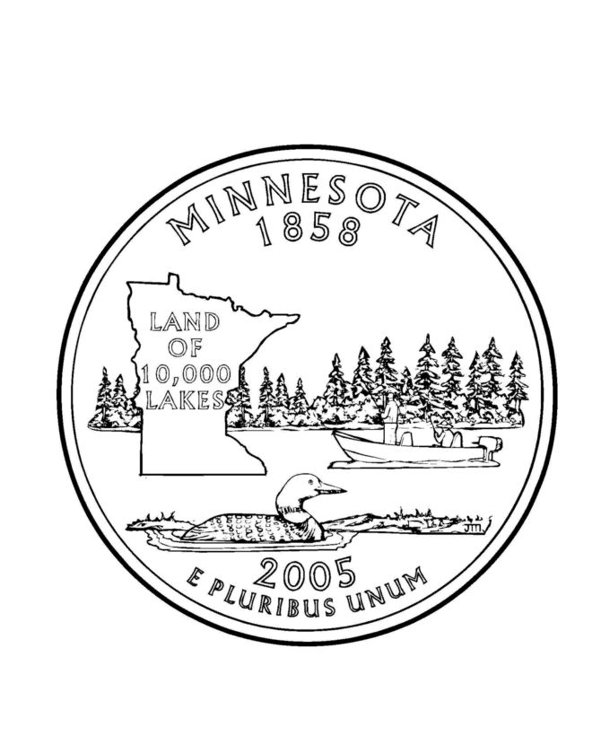 minnesota state quarter coloring page