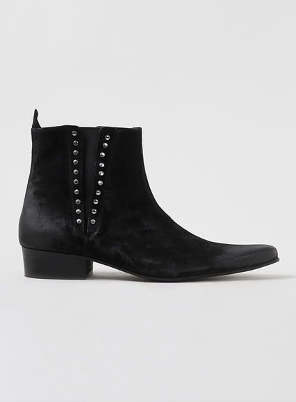 Black Suede Pointed Zip Boots