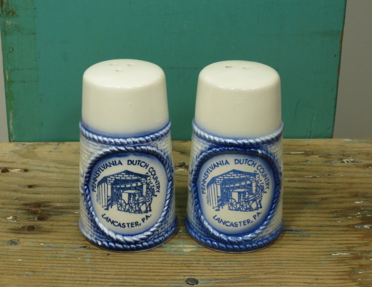 Pennsylvania Dutch Country Salt & Pepper Shakers • White and Blue Delft • Good n Plenty Smoketown PA • Covered Bridge • Circa 1970s by 13thStreetEmporium on Etsy