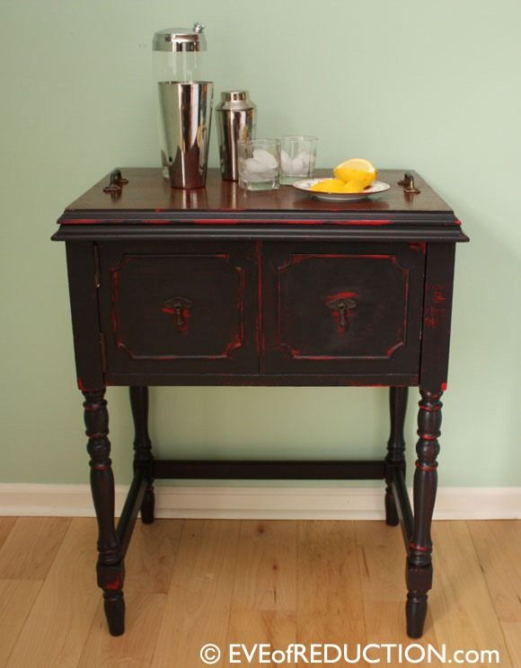 repurposed sewing cabinet to bar cart top lifts off as a serving