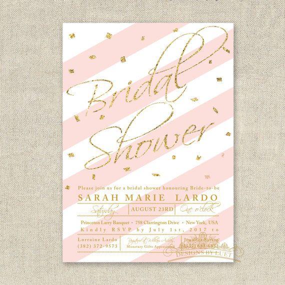 Bridal Shower Invitation - Pink and Gold Glitter Confetti Bridal Shower Invite - Wedding Shower Invitation - DIY Printable - Digital File