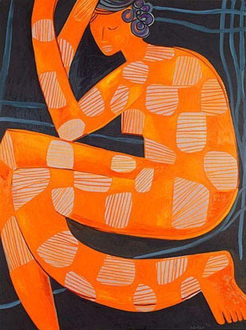 ymutate:  Mark Schaller, Big Orange Nude - oil on canvas 182 x 137cm, found here