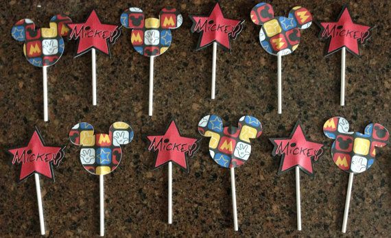 Mickey Mouse Cupcake Toppers  Mickey Cupcake by CardsandCanvas, $8.00