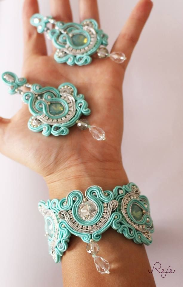 "https://www.facebook.com/rejegioielliinsoutache Soutache set ""Tiffany"" -Reje creations- entirely hand-sewn.  Handmade in Italy"