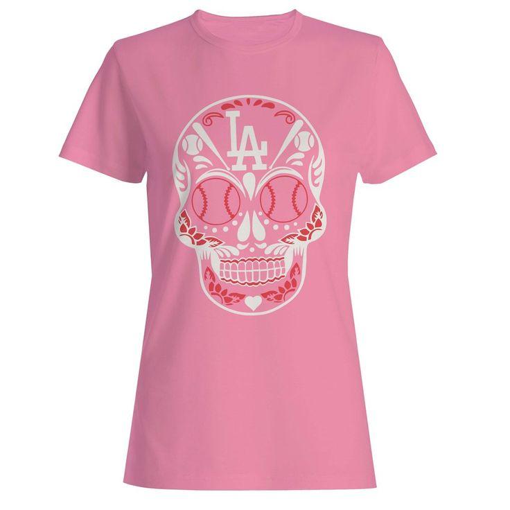 Los Angeles Dodgers Dia De Los Muertos Skull Woman's T-Shirt