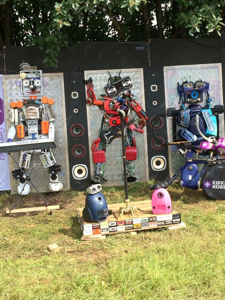 "NorthSide 2016, Aarhus, Denmark - ""Robot band"" made entirely from reused materials. Design by Kirkens Korshær, Aarhus"