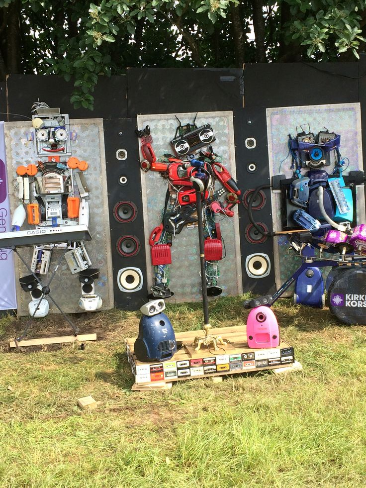 "NorthSide 2016, Aarhus, Denmark - ""Robot band"" made entirely from reused materials. Design by Kirkens Korshær, Aarhus"