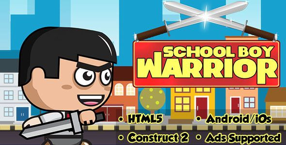 School Boy Warrior - HTML5 Android (CAPX) . School Boy Warrior is a 2d warrior runner where you are the school warrior and you need to kill monsters with your sword.This game is build by Construct 2 Game Engine (Capx File Included).How To PlayClick on jump to jump and sword button to attack monsters.Its a single touch game.It can be played