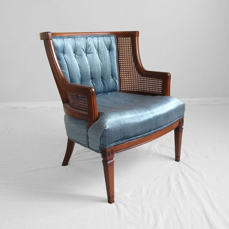 Best Vtg Hollywood Regency Blue Velvet Cane Accent Chair 400 x 300