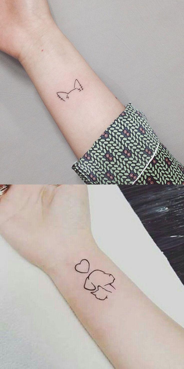 Cute Small Minimal Cat Dog Outline Wrist Tattoo Ideas For