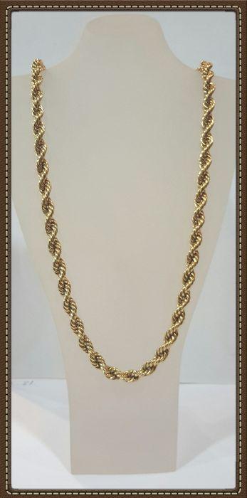 Goud 18 kt. snoer lengte: 68 cm  Dik touw ketting in 18 kt geel goud gewicht 53 g met gevlochten goud draden 68 cm lang en een kreeft gesp die overeenkomt met het stuk. Kleine tekenen van slijtage kunnen worden opgemerkt. Gratis geregistreerde verzending.  EUR 1.00  Meer informatie