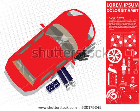 Car repair. Auto mechanic under car. Vector illustration of a flat design