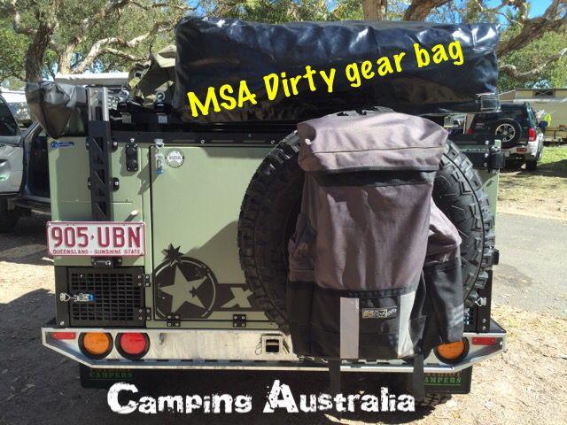 MSA4x4 dirty gear bag on the Patriot Camper rear wheel