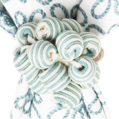 Bead Bouquet Ice Blue Stripe Napkin Ring