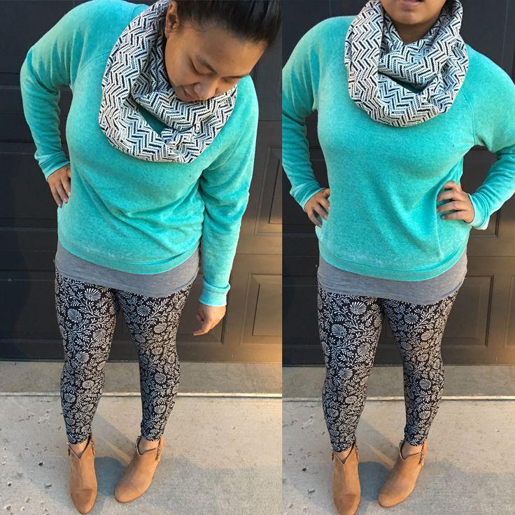 LuLaroe style, how to wear leggings, pattern mixing, fall outfits, LuLaroe outfits. Sweater: Bp. Leggings: LuLaroe Boots: Rag & Bone Scarf: MarielChristine