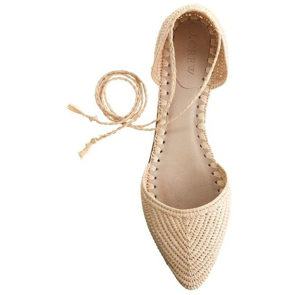 J.Crew Woven Straw D'orsay Flats With Ankle Tie ($245) ❤ liked on Polyvore featuring shoes, flats, flat pumps, j.crew, straw shoes, woven flat shoes and flat ankle strap shoes
