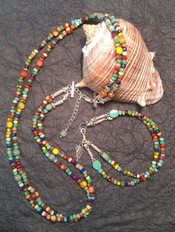 Multi-Colored Gypsy Mix Czech Glass Set by AlicesArmoire on Etsy