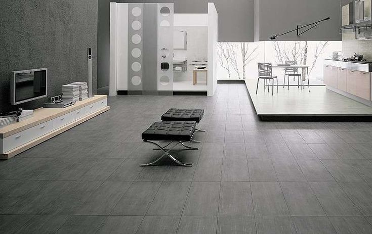 Abbinamenti pavimento grigio - Pavimento grigio in living minimal