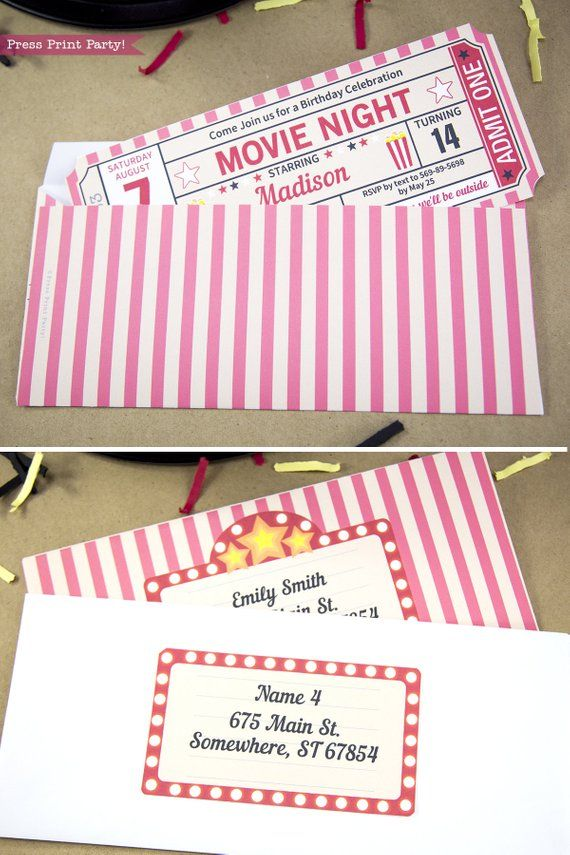 Movie Night Invitation Printable Red Ticket Stub In 2019