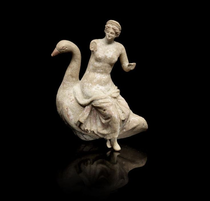 Greek terracotta group of Aphrodite on a goose, Hellenistic Period, 2nd-1st century B.C. Leda and the Zeus as a swan, the bird with the a long curving neck, the goddess depicted seated on the back of the bird, with drapery around her lower body and wearing a stephane in her hair, 15.9 cm high. Private collection