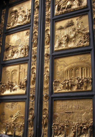 Centraal perspectief berekend door Brunelleschi gebruikt door Ghiberti Baptistry Doors at the Cathedral of Florence Italy. & The 19 best Baptistry doors images on Pinterest   Florence Lorenzo ...