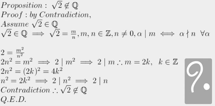 I Pitagorici scoprirono che √2 è un numero irrazionale, e fu forse questo risultato inaspettato a essere tenuto segreto dalla setta, pena la morte. L'idea che esistessero numeri irrazionali, infatti, metteva in discussione che ogni numero potesse essere espresso come un rapporto tra due numeri interi, e quindi i fondamenti stessi dei loro ideali scientifici e religiosi.