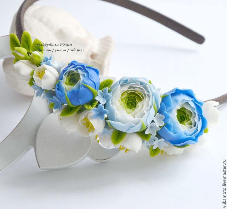"""Купить """"Нежные ранункулюсы"""" (обруч с цветами) - подарок для девочки, подарок, украшение для волос, полимерная глина"""