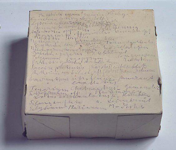 JOSPEH BEUYS Ohne Titel (Heilkrauterverzeichnis der im Garten des Kunstlers wachsende Pflanzen), 1974 Pencil on cardboard box 13-1/4 x 13-1/4 x 5-11/12 inches (33.5 x 33.5 x 15 cm)