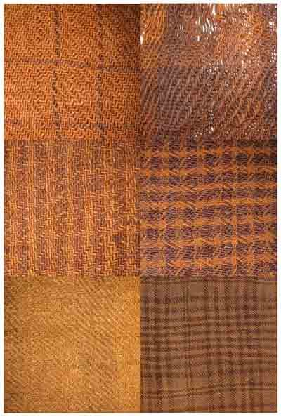 Different fabric patterns, from early Iron age -   Forskellige mønstrede tekstiler fra ældre jernalder.