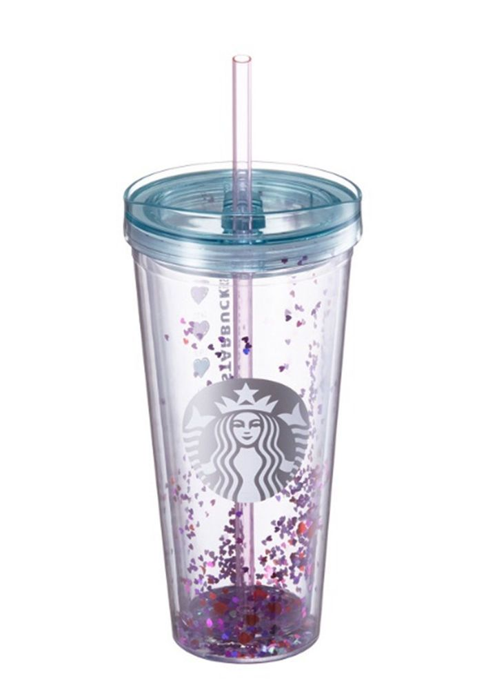 2017 Korea Starbucks Valentine heart glitter coldcup 650ml Cold drinks only #StarbucksKoreaHappyNowYear2017