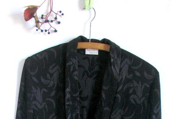 Vintage 80s Black silk burnout tunic jacket by vintachi on Etsy, $32.00