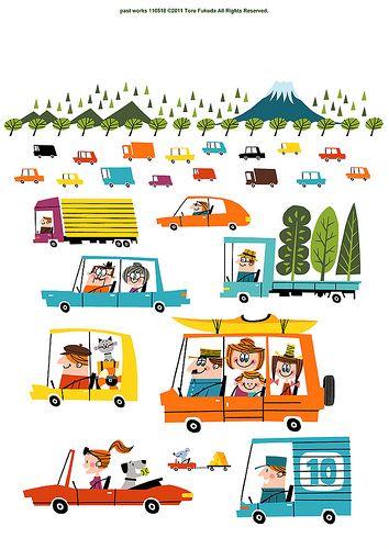 Past Works 110518 by Toru Fukada (via The Merry Blog) #ToruFukada #cars #retro