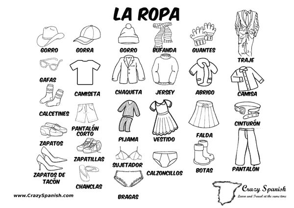 la ropa learn spanish vocabulary for the clothes print. Black Bedroom Furniture Sets. Home Design Ideas
