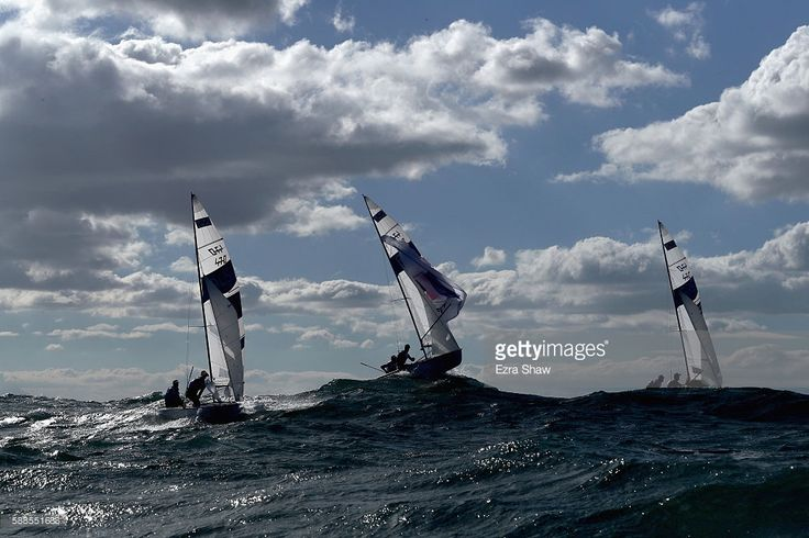 Mathew Belcher and Will Ryan of Australia, Sofian Bouvet and Jeremie Mion of France, and Panagiotis Mantis and Pavlos Kagialis of Greece compete in the men's 470 class on Day 6 of the Rio 2016 Olympics at Marina da Gloria on August 11, 2016 in Rio de Janeiro, Brazil.