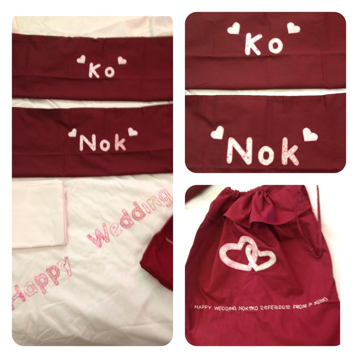 Exclusive Couple Bed Sheet Set and Gift Bag Happy Wedding or Happy Anniversary With Name and Date By Tal Art & Crafts Made in Thailand  Satinee_t@hotmail.com
