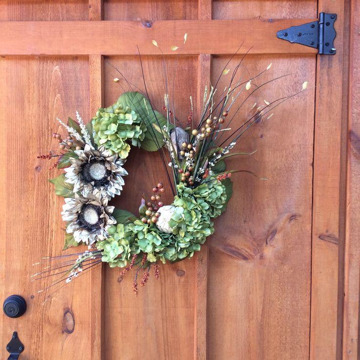 Sunflower Wreath, Green Hydrangea Wreath, Fall Wreath, Autumn Wreath, Front Door Wreath, Door Decor, Sunflower Decor, Made In Canada by DearloveDecorDesign on Etsy