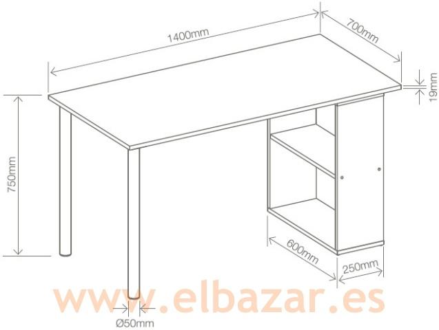 Mesa escritorio oficina esmaci negro estanter as for Medidas estandar de escritorios de oficina