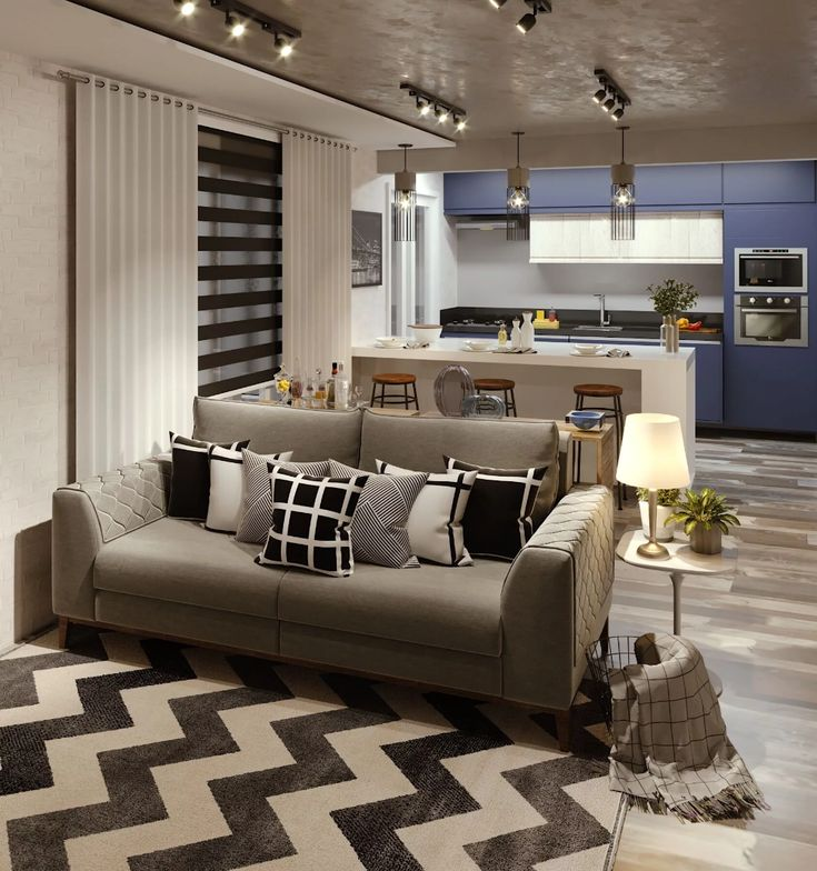 Sala de estar integrada à cozinha americana   – Arquitetura casas