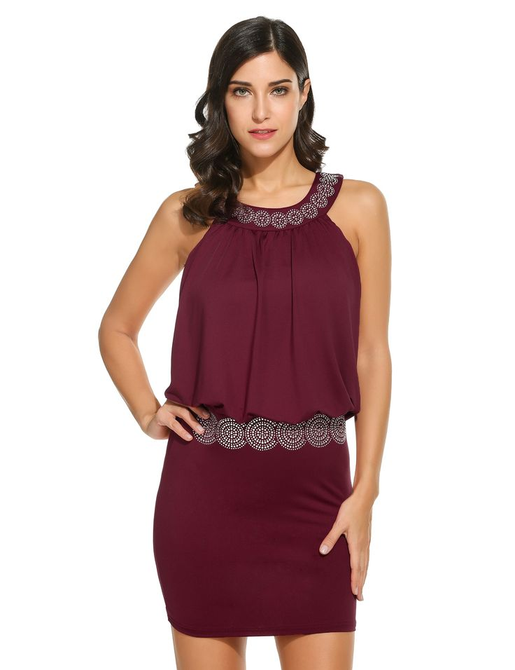 Red New Women O-Neck Cold Shoulder Sleeveless Button Slim Sexy Going Out Dresses