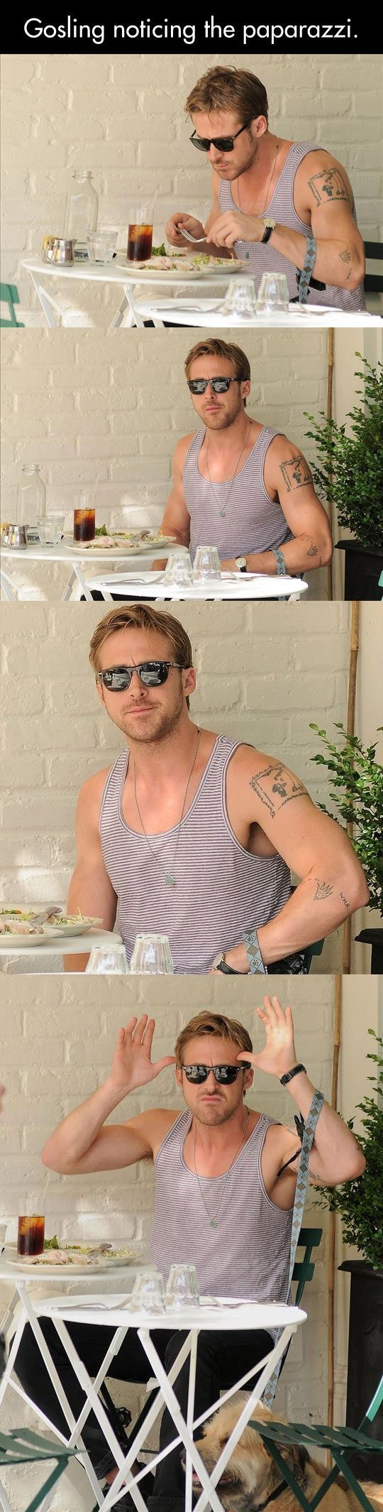 #RyanGosling: When noticing the #paparazzi.is Looking!! -  iwastesomuchtime.com