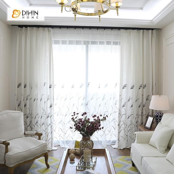 Dihin Home Reeds Embroidered Sheer Curtain Blackout Grommet