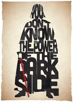 Affiche typographique citation de film Star Wars dark vador