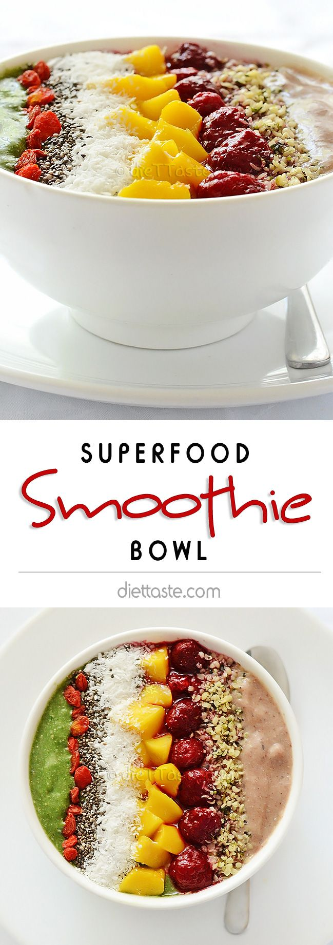Superfood Smoothie Bowl - high nutrition smoothie for weight loss that can be eaten with a spoon - diettaste.com
