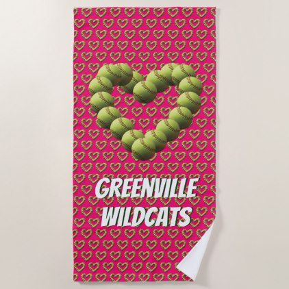 Heart of Softball on Pink Team Named Beach Towel - heart gifts love hearts special diy