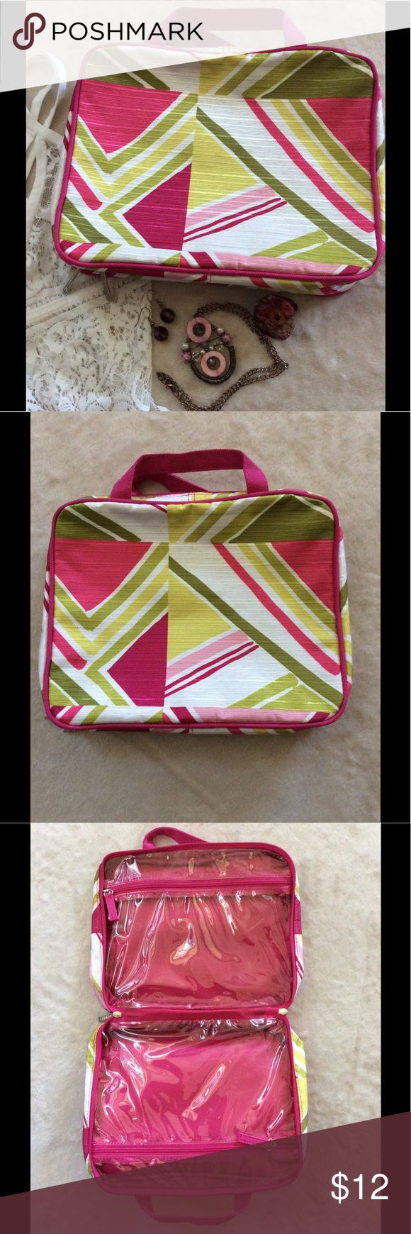 """Clinique Bathroom Travel Case New, never used, Clinique Bathroom Travel Case, in colors of hot pink, light pink, lime green, fluorescent yellow, & white. Opens opens up to two large zip plastic pockets, zip closure. Measures 8""""x10"""" closed, & 16""""x10"""" opened. Clinique Bags Travel Bags"""