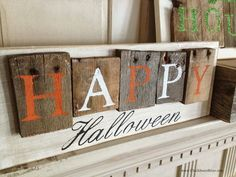 Pallet- Style Halloween sign.. use similar idea w inter changeable words for holiday's using nails and drill holes in wood