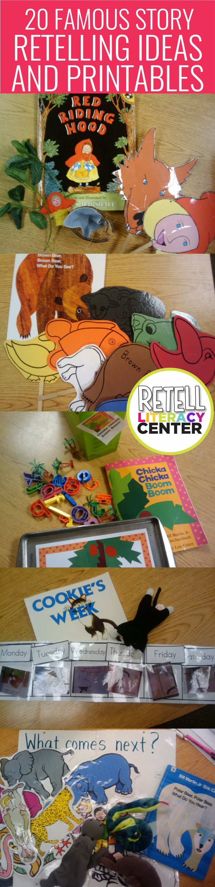 How to create a retell literacy center in kindergarten. Plus a list of 20 famous stories and retell props (with printables) to complete this center. I love these... I could easily make these a literacy center that'd last the whole year