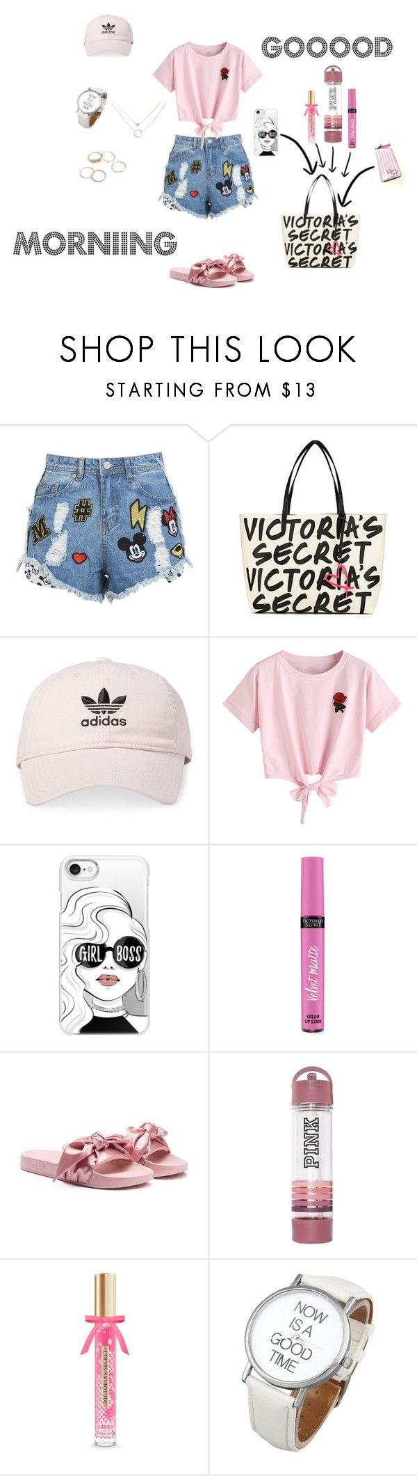 """GOOOOD MORNIING"" by natalyholly on Polyvore featuring Disney Stars Studios, Victoria's Secret, adidas, WithChic, Casetify and Puma"